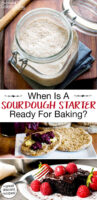 "Photo collage of bubbly sourdough starter, sourdough chocolate cake topped with raspberries, and sourdough English spread with jam and butter. Text overlay says: ""When Is A Sourdough Starter Ready For Baking? (+great discard recipes!)"""