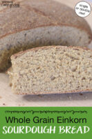 "Slices of sourdough bread. Text overlay says: ""Whole Grain Einkorn Sourdough Bread (single or double rise)"""