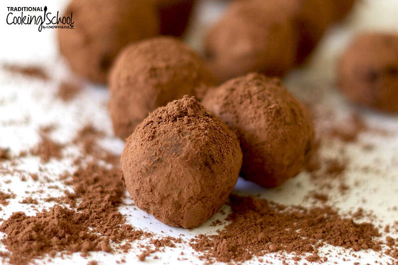 Homemade truffles dipped in cocoa powder.
