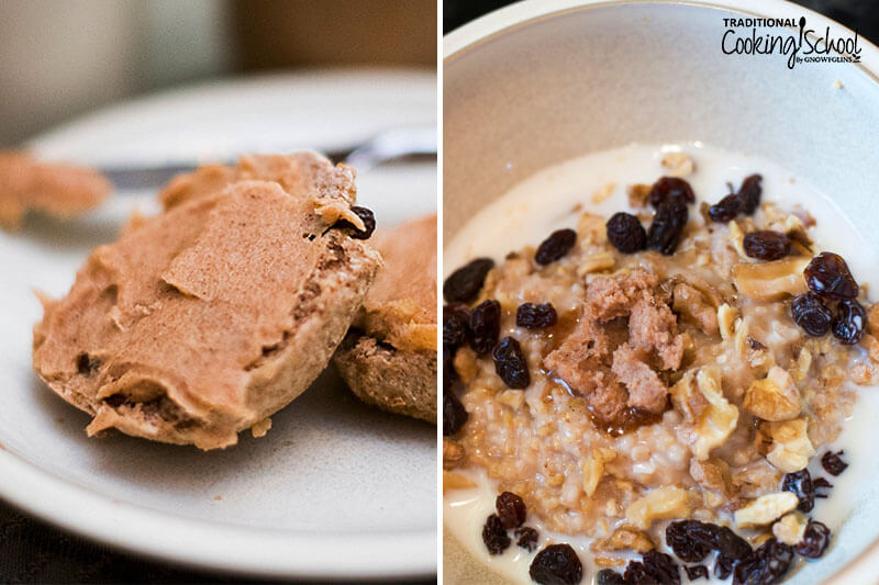 Photo collage of topping oatmeal and toast with cinnamon-honey-flavored coconut butter.