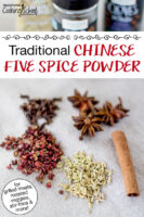 """Szechuan peppercorns, cloves, star anise, fennel seed, and a cinnamon stick. Text overlay says: """"Traditional Chinese Five Spice POwder (for grilled meats, roasted veggies, stir-fries & more!)"""""""
