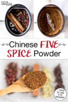"""Photo collage making homemade Chinese five spice in a spice grinder, and a spoonful of the finished spice mix. Text overlay says: """"Chinese Five Spice Powder (+how to use it in recipes!)"""""""