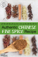 """Photo collage of whole spices (Szechuan peppercorns, star anise, cinnamon stick, fennel seed, whole cloves) and a close-up shot of a spoonful of spice mix. Text overlay says: """"Authentic Chinese Five Spice Recipe (using whole or ground spices)"""""""