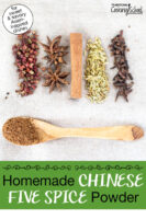 """Szechuan peppercorns, cloves, star anise, fennel seed, and a cinnamon stick spread on a cloth with a spoonful of the ground spices nearby. Text overlay says: """"Homemade Chinese Five Spice Powder (for sweet & savory Asian-inspired dishes!)"""""""