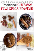 """Photo collage of making homemade Chinese five spice: the whole spices, whole spices in a spice grinder, ground spices in a spice grinder, and a spoonful of the spice mix. Text overlay says: """"Traditional Chinese Five Spice Powder (for sweet & savory Asian-inspired dishes!)"""""""