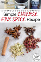 """Szechuan peppercorns, star anise, cinnamon stick, fennel seed, whole cloves spread out on a cloth. Text overlay says: """"Simple Chinese Five Spice Recipe (+how to use it in recipes)"""""""
