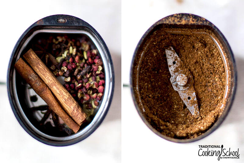 Photo collage of whole spices in a spice grinder and the spices all ground up.