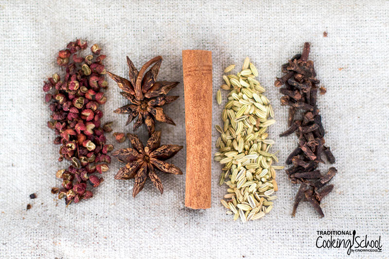 Whole spices side by side: Szechuan peppercorns, star anise, cinnamon stick, fennel seed, and whole cloves.