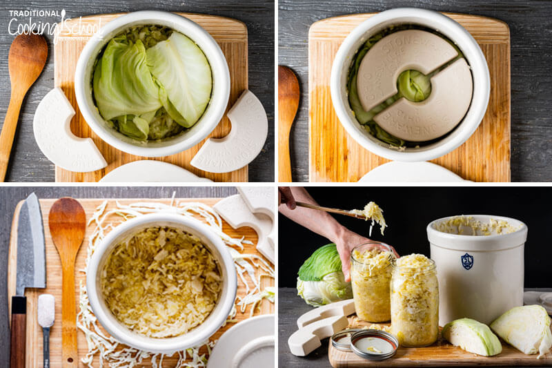4-photo collage of making sauerkraut: 1) sauerkraut in a stoneware crock covered with cabbage leaves 2) fermenting weights placed on fermenting sauerkraut in a crock 3) finished sauerkraut in a crock 4) spooning finished kraut out of the crock and into jars.