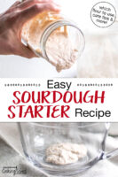 "Bubbly sourdough starter in a glass jar being poured out. Text overlay says: ""Easy Sourdough Starter Recipe (which flour to use, care tips & more!)"""