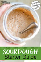 "Bubbly sourdough starter in a glass jar tipped to show its contents. Text overlay says: ""Sourdough Starter Guide (how to make it, care tips, FAQs, recipes & more!)"""