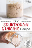 "Photo collage of bubbly sourdough starter in a glass jar. Text overlay says: ""DIY Sourdough Starter Recipe (how to make it, care tips, FAQs, recipes & more!)"""