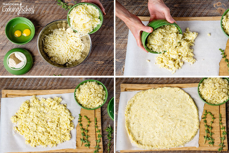 """Steps 5-8 of making cauliflower pizza: 5) Combining cauliflower with cheese, eggs, and spices 6) Pouring pizza """"dough"""" onto parchment paper 7) Pizza """"dough"""" on parchment paper ready to be shaped 8) Pizza """"dough"""" shaped into a pizza crust"""