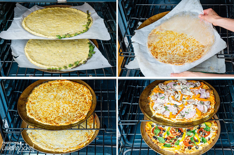Steps 9-12 of making cauliflower pizza: 9) Baking cauliflower pizza on cookie sheets in oven 10) Flipping cauliflower crusts to continue baking 11) Flipped crusts baking, golden brown 12) Pizzas topped with fresh veggies, more cheese, and meats
