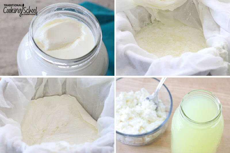 Photo collage of making whey: 1) Thickened milk in a glass jar 2) Thickened milk in cheesecloth ready to be dripped out 3) Soft cheese with whey dripped out in cheesecloth 4) Jar of whey with soft cheese in a bowl.