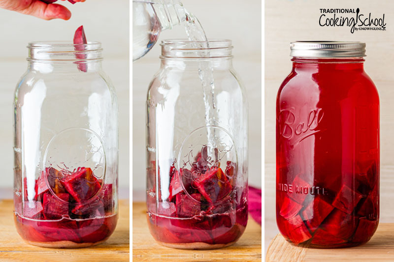 3-photo collage of making beet kvass: 1) adding beet chunks to a half gallon jar with whey 2) adding water 3) covering jar and letting sit at room temperature to ferment