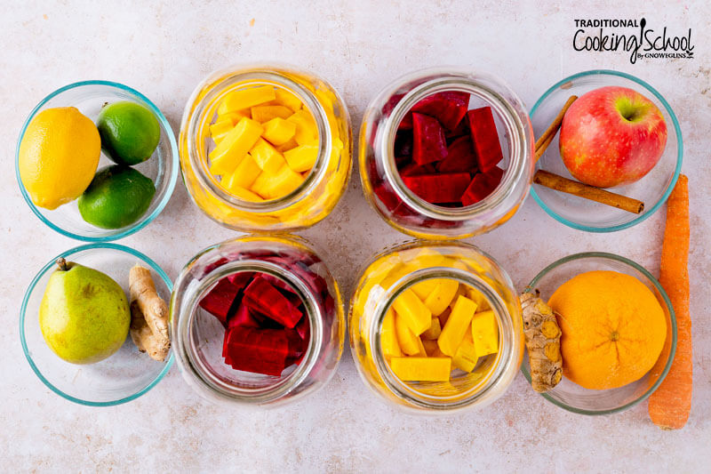 Beet kvass flavor options, including lemon-lime, ginger-pear, ginger-orange-carrot, and apple-cinnamon.