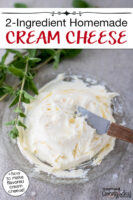 """Cream cheese on a small serving plate. Text overlay says: """"2-Ingredient Homemade Cream Cheese (+how to make flavored cream cheese!)"""""""