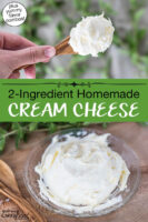 """Photo collage of cream cheese on a wooden spoon and on a small serving plate. Text overlay says: """"2-Ingredient Homemade Cream Cheese (plus yummy flavor combos!)"""""""