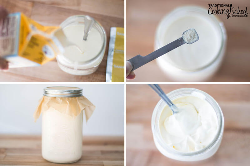 Steps 1-4 of making homemade cream cheese: 1) adding cream to quart-sized jar 2) adding starter culture 3) covering jar and letting culture for 24 hours 4) thickened cream