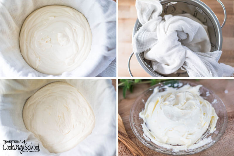 Steps 5-8 of making cream cheese: 5) cultured cream in cheese cloth 6) cultured cream tied up in cheesecloth in a colander to let whey drip out 7) whey has dripped out, leaving cream cheese 8) cream cheese on a small serving plate