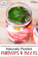 """Turnips and beets in jars with a grape leaf added on top, ready to be fermented. Overhead shot of two quart-sized glass jars of pickled turnip and beet slices which have turned a deep burgundy color. Text overlay says: """"Naturally Pickled Turnips & Beets (no special equipment needed!)"""""""