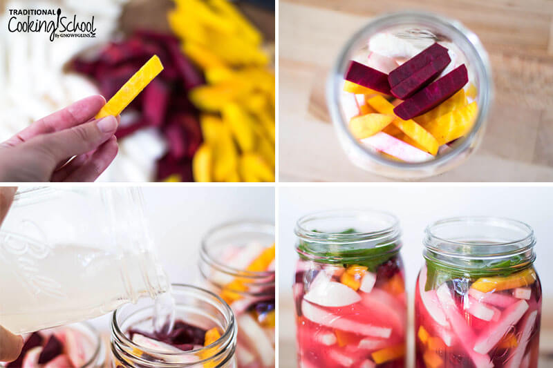 1-4 photo collage of making turnip and beet pickles: 1) Woman's hand holding up a thin slice of golden beet with the rest of the prepped and sliced veggies in the background 2) Veggies in a quart-sized glass jar 3) Pouring brine over the veggies 4) Veggies and brine in jars with grape leaves added on top