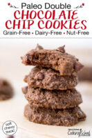"""Double chocolate chip cookies in a stack. The top cookie has a bite taken out of it. Text overlay says: """"Paleo Double Chocolate Chip Cookies: Grain-Free Dairy-Free Nut-Free (soft chewy thick!)"""""""