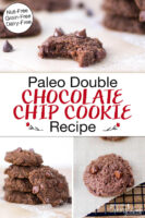 """Photo collage of chocolate cookies: a cookie on a cooling rack, a cookie with a bite taken out of it, and a stack of cookies. Text overlay says: """"Paleo Double Chocolate Chip Cookie Recipe: Grain-Free Dairy-Free Nut-Free"""""""