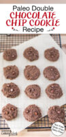 """12 chocolate cookies on a cooling rack. Text overlay says: """"Paleo Double Chocolate Chip Cookie Recipe: Grain-Free Dairy-Free Nut-Free"""""""