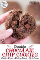 """Close-up shot of a chocolate cookie broken in two to show the soft texture. Text overlay says: """"Double Chocolate Chip Cookies: Grain-Free Dairy-Free Nut-Free (ready to eat in half an hour!)"""""""