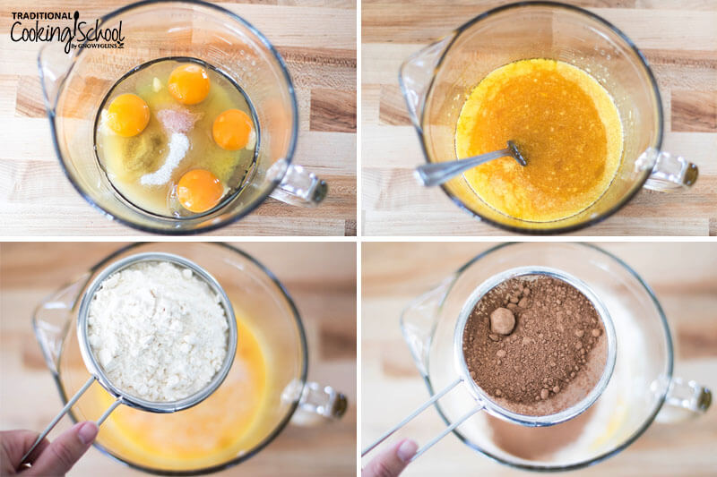 4-photo collage of making cookies: 1) Eggs, salt, and sugar in a bowl 2) Wet ingredients mixed together with oil 3) Sifting in coconut flour to the wet ingredients 4) Sifting in cocoa powder.