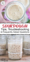 """Photo collage of bubbly sourdough starters. Text overlay says: """"Sourdough Tips, Troubleshooting & Frequently Asked Questions (KYF 092 & 167)"""""""