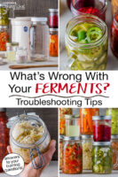 """Photo collage of ferments and fermenting supplies. Text overlay says: """"What's Wrong With Your Ferments? Troubleshooting Tips (answers to your burning questions!)"""""""