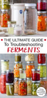 """Photo collage of ferments and fermenting supplies. Text overlay says: """"The Ultimate Guide To Troubleshooting Ferments (moldy, not bubbly, bad smell & more)"""""""
