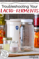 """Fermenting equipment and ingredients: salt, salt brine, whey, and a fermenting crock with ferments in the background. Text overlay says: """"Troubleshooting Your Lacto-Ferments (caring for, starter cultures, safety tips & more!)"""""""