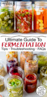 """Photo collage of jars of a wide variety of homemade ferments. Text overlay says: """"Ultimate Guide to Fermentation: Tips, Troubleshooting, FAQs (caring for, starter cultures, safety tips & more!)"""""""